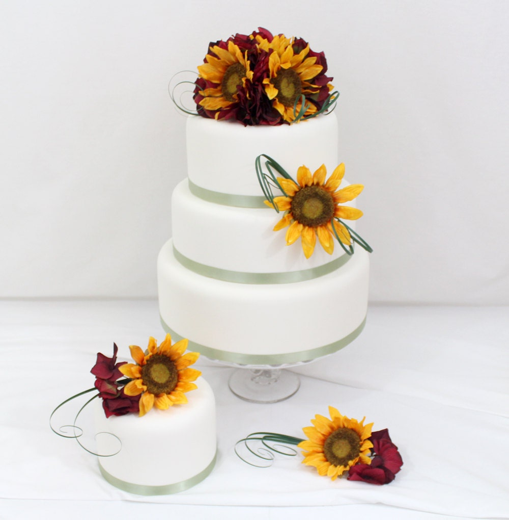 artificial flower wedding cake toppers wedding cake topper sunflower hydrangea silk flower 10843