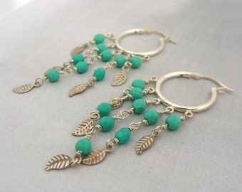 Sterling silver hoop earrings with turquoise beads and leaves Bohemian