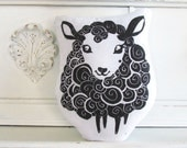 Plush Black Sheep Pillow. Hand Woodblock Printed. Choose Any Color. Made to Order.