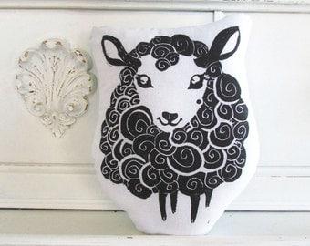 Sheep Shaped Animal Pillow.  Hand Woodblock Printed. Choose Any Color. Made to Order.
