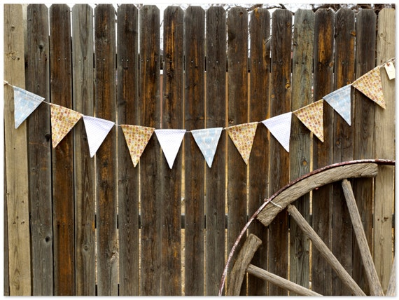Tracy Porter Earth Tone Fabric Bunting Banner, Flags, Party Pennants, Reusable Decorations