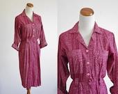Vintage Shirtdress -- Military Dress -- 80s Berry Pink Digital Geometric Print -- Small Medium