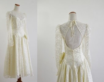 Vintage Tea Length Wedding Dress, 80s Wedding Dress, Lace Wedding Dress, Basque Drop Waist, Illusion Neckline Open Back Wedding Dress Medium
