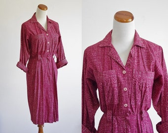 Vintage Shirtdress -- Military Dress -- 80s Berry Pink Digital Geometric Print -- Small Medium