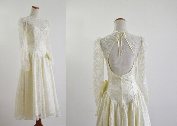 Vintage Tea Length Wedding Dress 80s Wedding Dress By