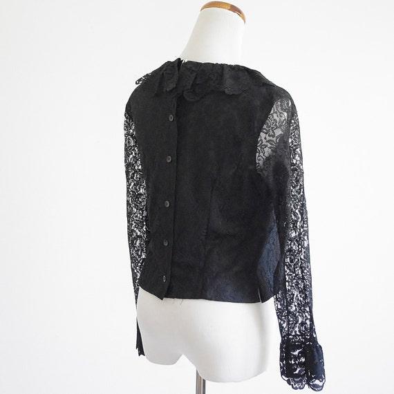 Vintage Lace Blouse -- 60s 70s Black Ruffle Blouse -- Back Button Blouse -- Small Medium