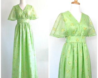 1970s Maxi - 70s dress - flutter sleeve - alternative wedding - empire waist - tea dress - green bridesmaid dress - medium