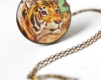 Tiger Art Pendant Necklace Vintage Art Round Pendant, Bengal Tiger Orange Stripes Safari Feline Wild Life Animal