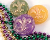 3 Mardi Gras Doubloons, Soap Coins,  Fleur De Lis, Glycerin Soap with Throw Beads