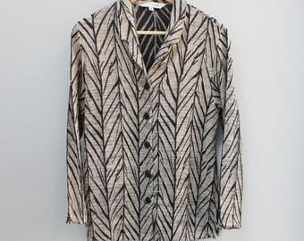 80s vintage women's unstructured blazer, textured, biege and black, Medium
