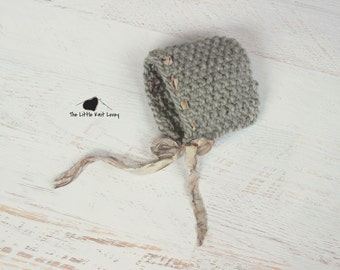 Little Knit Textured Bonnet with Ribbon Accent, Beautiful Photography Prop for Baby and Ready to Ship