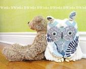 Original Plush stuffed Owl Toy - Blue Chevron and Cream Chenille - Nursery Decor