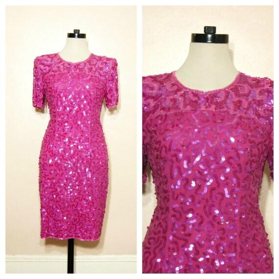 80s Sequin Dress Hot Pink SILK Small Medium Sheer Yoke Sheer