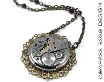 Victorian Steampunk Necklace - Vintage Watch Movement Edwardian Steampunk Pendant, Steampunk Jewelry by Compass Rose Design