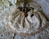REDUCED, Vintage Tea Dyed Bridal Wedding HandBag, OOAK Design, Bridal Bag, Something Old, Upcycled, Tattered, SteamPunk
