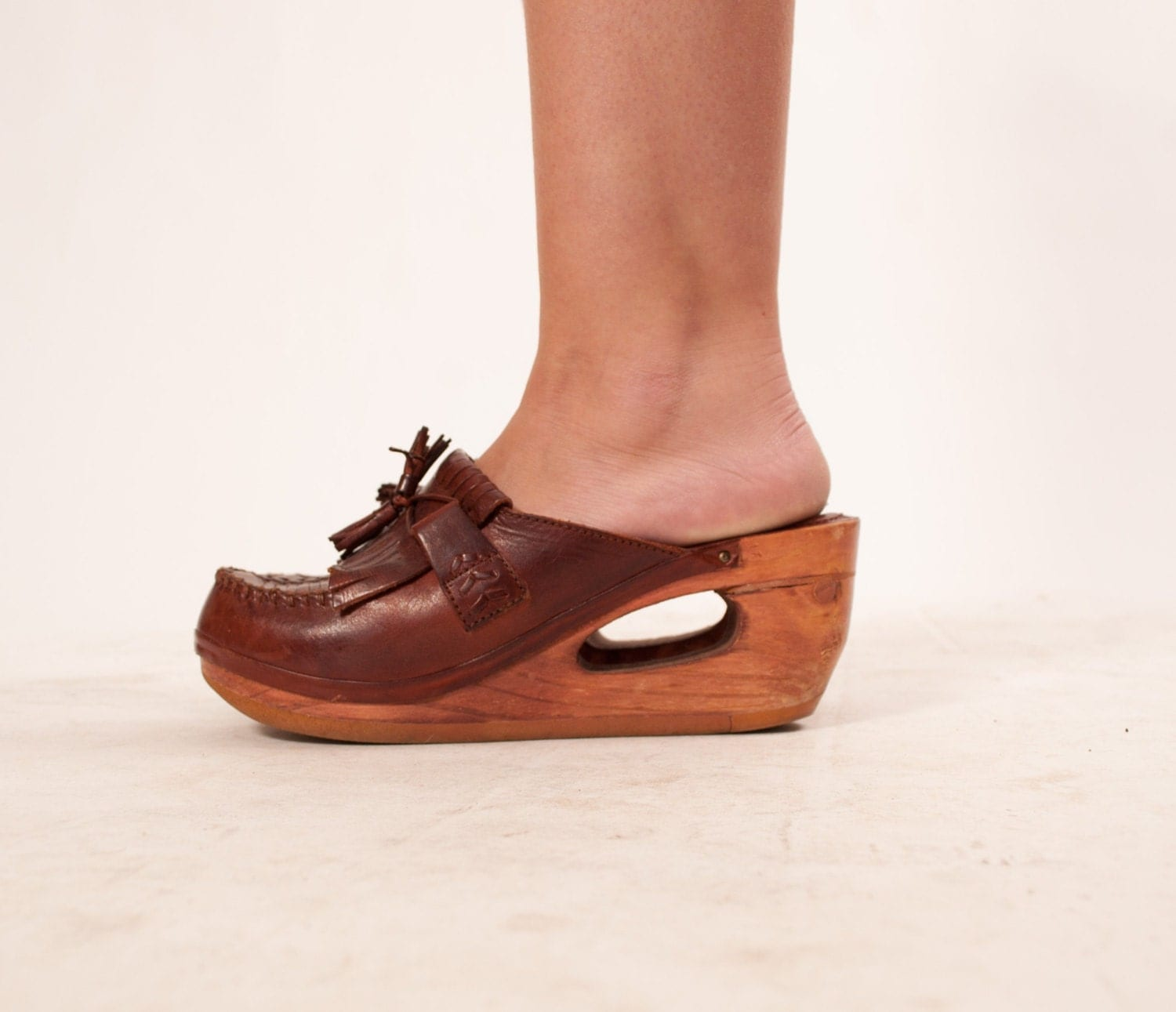 Vintage 70s Platform Shoes 1970s Clogs Wood Wedges