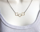 Modern Geometric Necklace, Minimalist Mixed Metal Jewelry, Hipster Jewelry, Urban Inspired Everyday Jewelry, Solid Brass Squares, Gunmetal - KapKaDesign