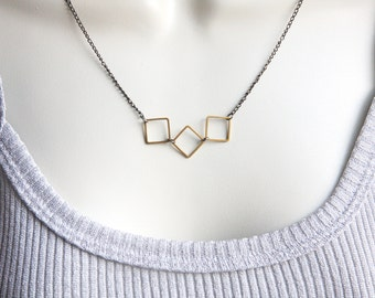 Modern Geometric Necklace Minimalist Mixed Metal Jewelry Hipster Jewelry Urban Inspired Jewelry Solid Brass Squares Gunmetal jewelry trend