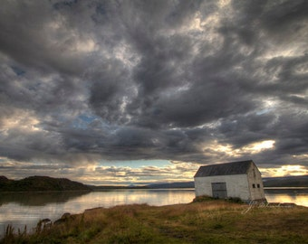 lakeside landscape, old shed photograph, fine art print, abandoned wooden shed, lakes in Iceland