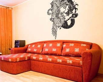Vinyl Wall Decal Sticker Chinese Dragon and Bird 1058s