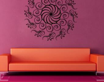 Vinyl Wall Decal Sticker Swirly Circle Plant 1125m