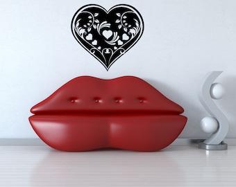 Vinyl Wall Decal Sticker Heart Vine Design 1155m