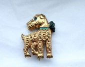 Vintage 1940s  DOGGY BROOCH // Blue Bow