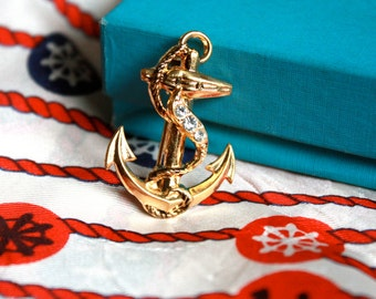Vintage 1960s Brass SAILOR Anchor and Rope  // Rhinestones
