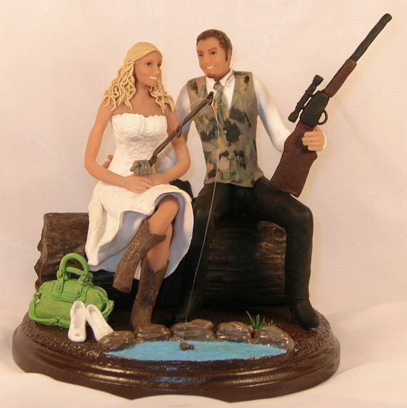 Items Similar To Hunting Fishing Wedding Cake Topper Cowboy Boots Coach Pu