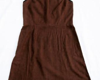 Vintage Maggie London Linen Sundress Sz 8 A-line Halter Top Chocolate Brown