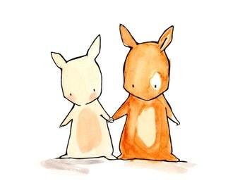 Me and You Bunnies 8x10 Nursery Art Print Illustration