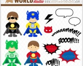 Superhero Kid Clipart - INSTANT DOWNLOAD - Digital Clip Art - WA341C2a