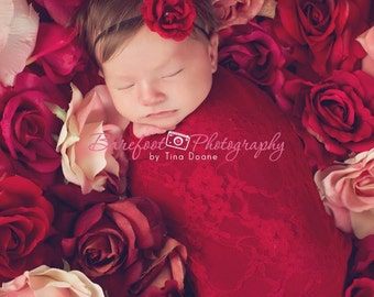 Small red flower headbands, NewbornHeadbands, Baby Headbands