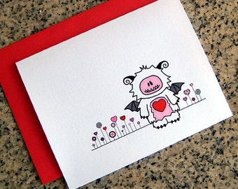 love monster and heart flower garden valentines / notecards / thank you notes (blank or custom inside) with red envelopes - set of 10