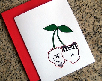 skull cherries couple valentines / notecards / thank you notes (blank or custom inside) with envelopes - set of 10