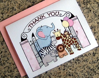 zoo train animals girl thank you notes cards pastel colors (blank or custom printed inside) with pink envelopes - set of 10