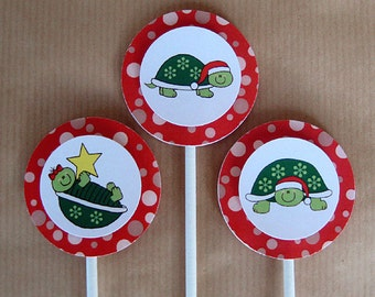 holiday christmas turtles cupcake cake toppers decorations can be personalized - set of 12