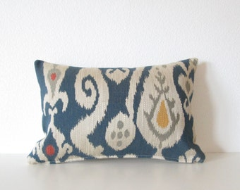 Decorative pillow cover - Lumbar pillow - Ikat pillow - 12x18 - Blue - Natural - Burnt Orange - Ikat - Designer fabric
