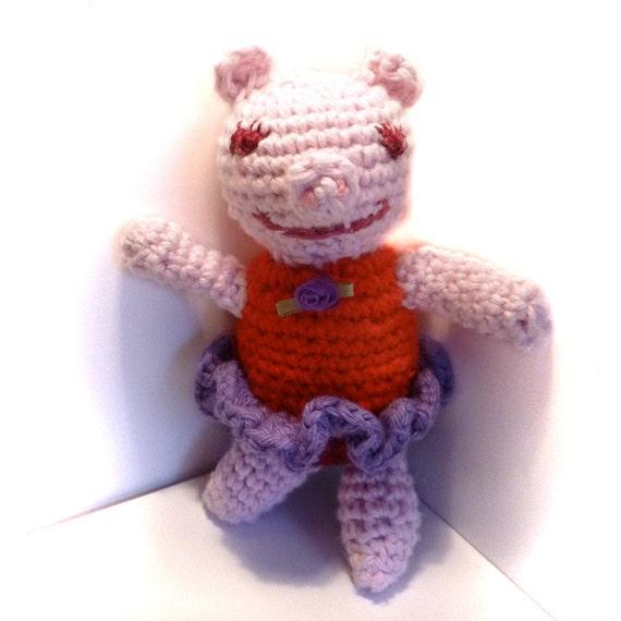 Pink Ballerina Pig Amigurumi Crochet Doll with Purple Tutu.