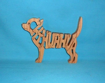 Chihuahua Dog Breed Scroll Saw Wooden Puzzle