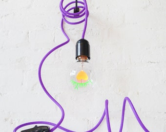 I LOVE YOU Light Bulb Pendant Lamp with Purple Cloth Cord - Great Loving Light Gift for Any Occasion