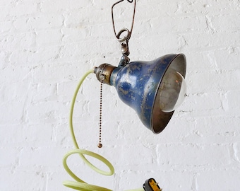 Vintage Industrial Navy Blue Bell Shade Clip Clamp Light w/ Pastel Spring Green Cloth Cord