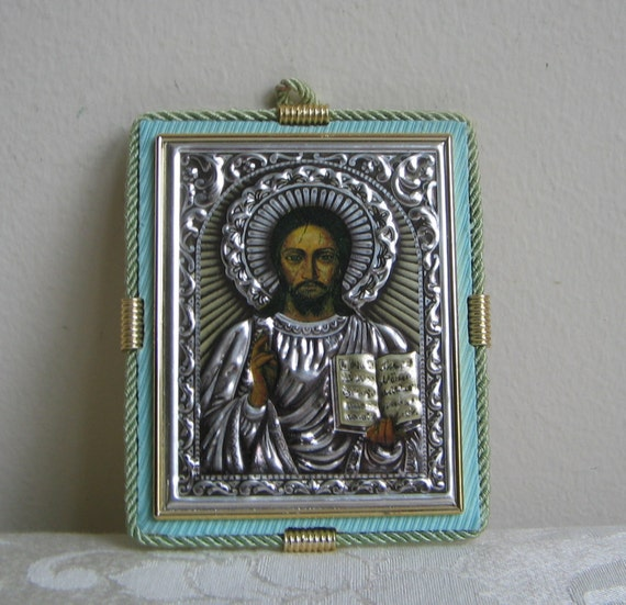 Vintage Jesus Mixed Media Wall Art Hammered Metal Punched