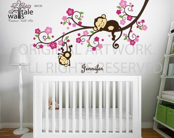 Girl Monkey Nursery Blossom tree branch wall decal with cute Monkeys and  Name decal for Baby room, nursery