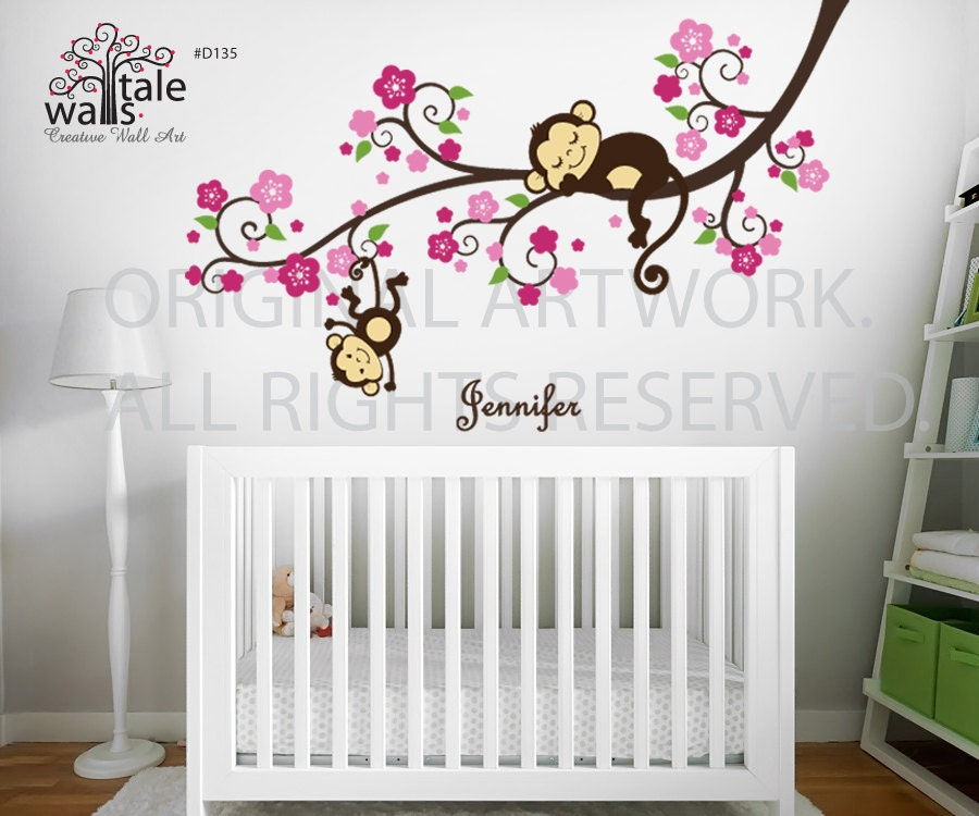 Girl monkey nursery blossom tree branch wall decal with cute for Baby girl nursery mural
