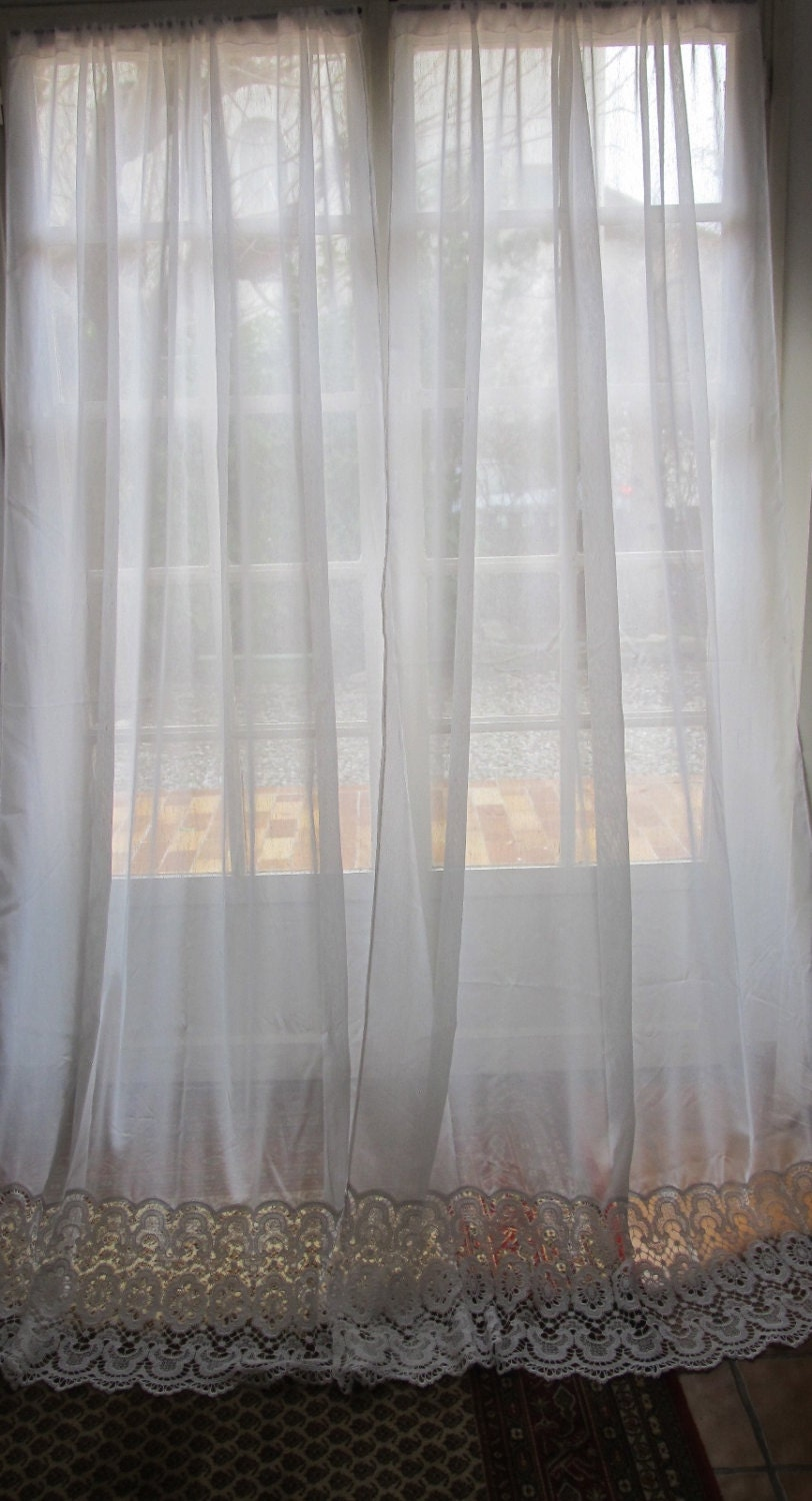 ivory off white french door lace curtains sheer by