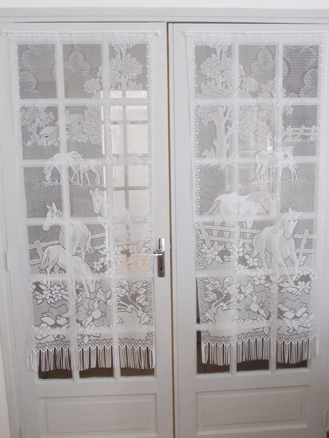 French White Lace Curtains French Door Horse by LinenAndLetters