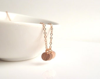Rose gold disc necklace - a little simple trio of flat round blank disks on a delicate pink / rose gold plated chain - minimalist tiny style