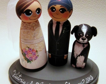 Wedding Cake Topper / Custom Painted Wood Peg Dolls / Couple Plus 1 small peg (perfect for children or pets) and Plaque / sports logo