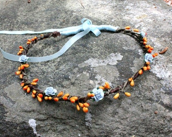 NEYTIRI Tomorrowland Wreath Flower Headpiece - Orange and Light Blue Wreath - Woodland faerie head wreath - Halo  - 70's retro feel